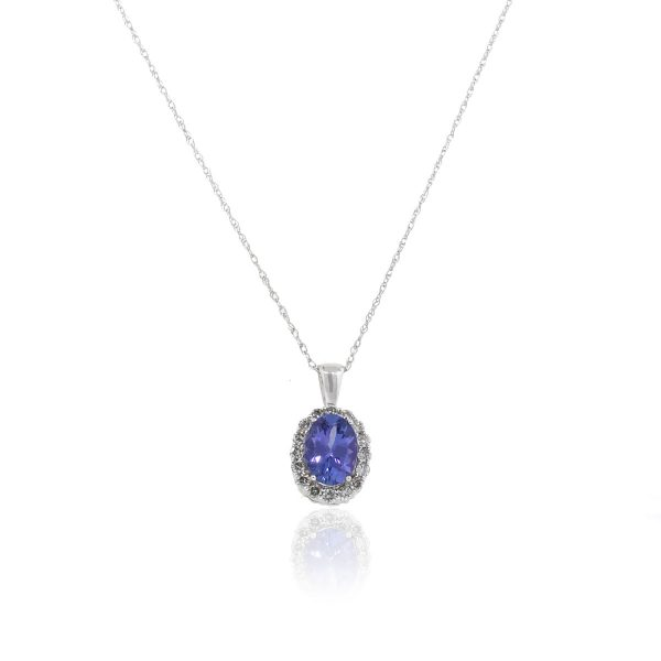 14k White Gold 1.10ctw Oval Tanzanite With Diamonds Pendant On Chain