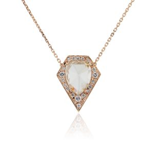 14k Rose Gold 2.41ct Rose Cut Pear Shape Diamond and 0.25ctw Diamond Shield Pendant on Chain