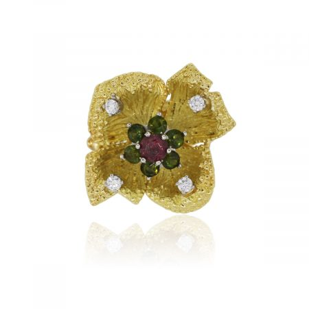 18k Yellow Gold 0.12ctw Diamond Peridot and Garnet Flower Cocktail Ring