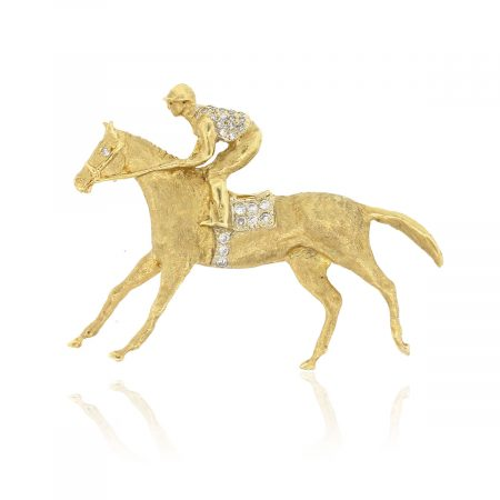 18k Yellow Gold 0.20ctw Diamond Horse And Jockey Brooch Pin