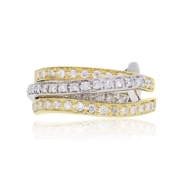 18k Two Tone Gold 0.75ctw Diamond Multi Row Crossover Band