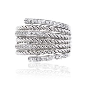 14k White Gold 0.53ctw Diamond Wide Multi Row Ladies Band
