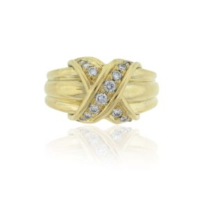 "Tiffany & Co. 18k Yellow Gold Gradual Diamond ""X"" Ring"