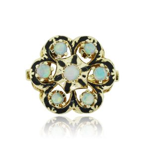 14k Yellow Gold Opal Cluster Vintage Ladies Ring