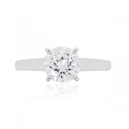 14k White Gold 1.50ct Round Brilliant Diamond Four Prong Engagement Ring