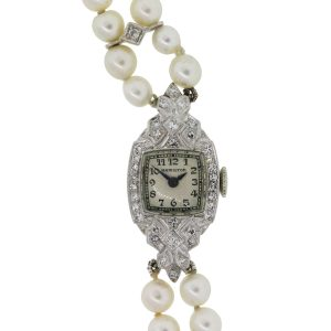 Hamilton Platinum Diamond and Double Pearl Strand Ladies Watch