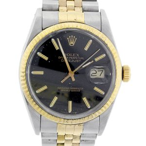 Rolex 16013 Datejust Two Tone Black Dial 36mm Watch