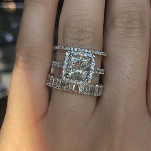 how to stack rings with engagement ring