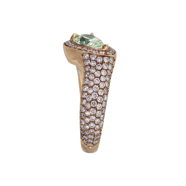 18k Rose Gold 2.93ctw Pear Shape Diamond Double Band Ring