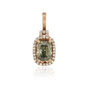18k Rose Gold 2.02ct Fancy Cushion GIA Diamond Pendant