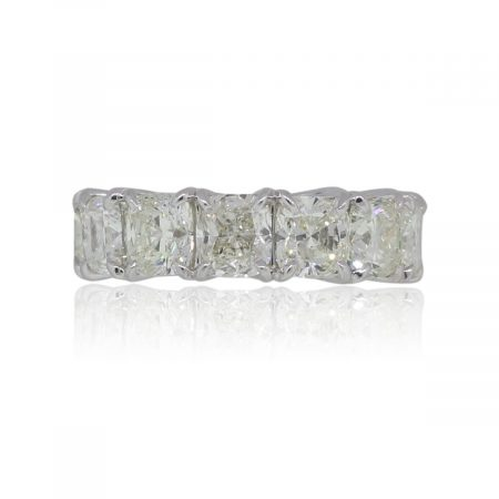 Platinum 13.44ctw Cushion Cut Diamond Eternity Band