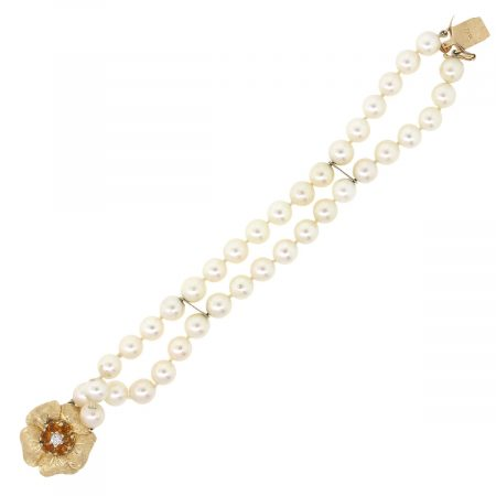 14k Yellow Gold Flower With Citrine And Diamond Pearl Bracelet