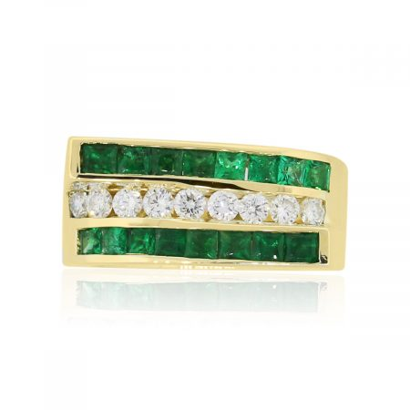 14k Yellow Gold 0.64ctw Emerald and 0.35ctw Diamond Ring