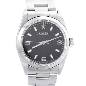Rolex 77080 Oyster Perpetual Stainless Steel Black Dial Watch