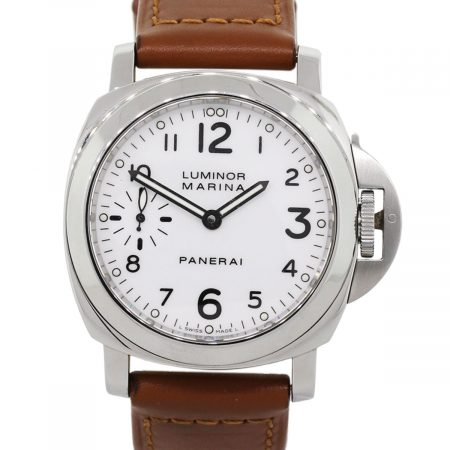 Panerai PAM00113 White Dial on Brown Leather Stainless Steel Watch