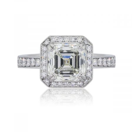 Platinum GIA Certified 3.20ct Asscher Cut Diamond Engagement Ring
