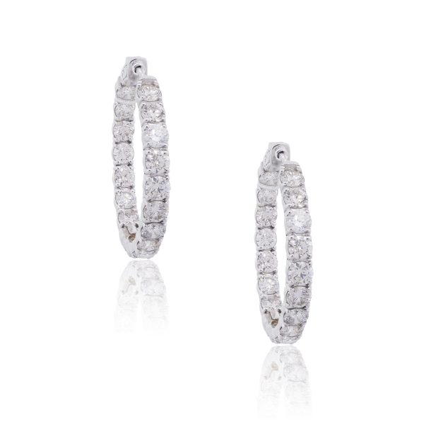 18k White Gold 6.93ctw Diamond Inside and Out Hoop Earrings