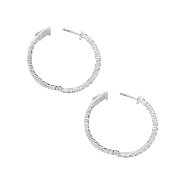 14k White Gold 2.81ctw Round Diamond Inside Out Hoop Earrings