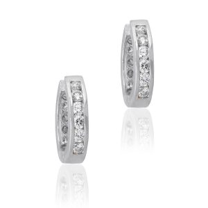 14k White Gold 1.30ctw Round Diamond Two Sided Channel Set Huggies