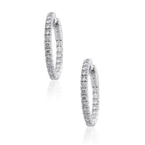 14k White Gold 1.60ctw Round Diamond Inside Out Hoop Earrings
