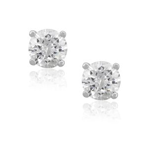 14k White Gold 2.04ctw Round Brilliant Diamond Stud Earrings