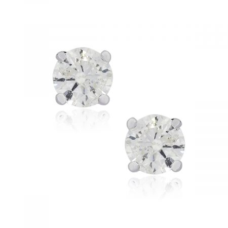 14k White Gold 1.33ctw Round Brilliant Diamond Stud Earrings