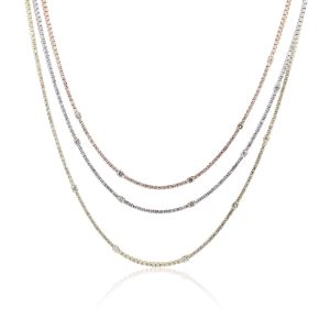 14k Tri Gold 15ctw Diamond Chain 3 Strand Tennis Necklace