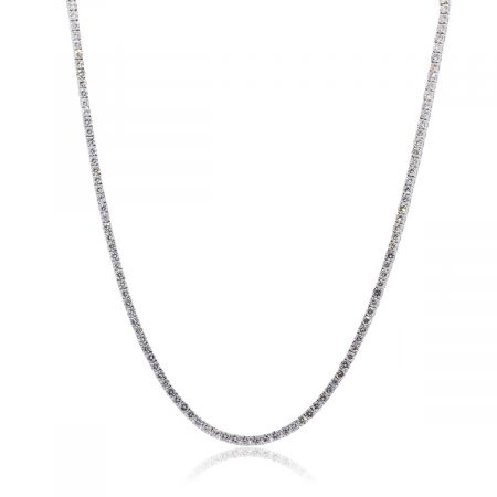 14k White Gold 14.57ctw Round Brilliant Diamond Tennis Necklace