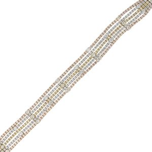 14k Tri Gold 11ctw Diamond 5 Row Bracelet
