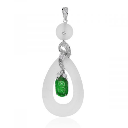 White Gold Jade Gemstone Earrings