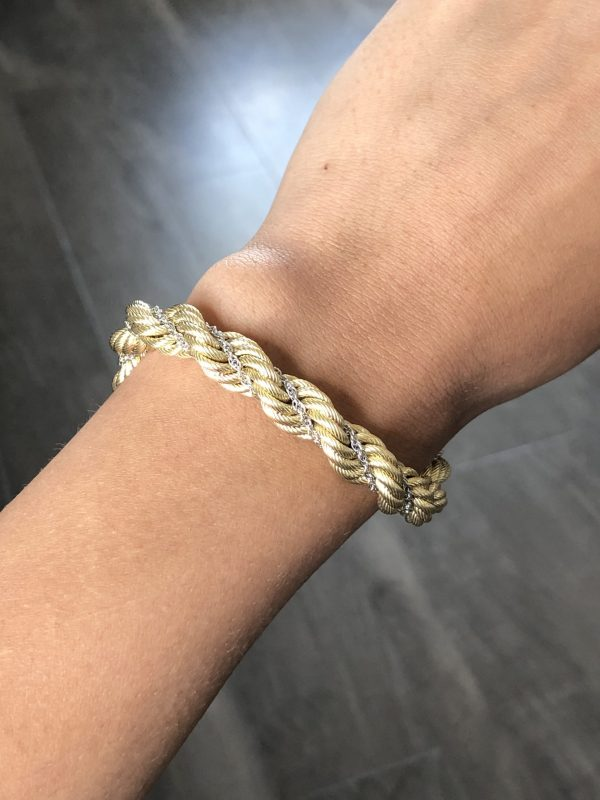 18k Two Tone Thick Rope Chain with Wrapped White Gold Chain Bracelet