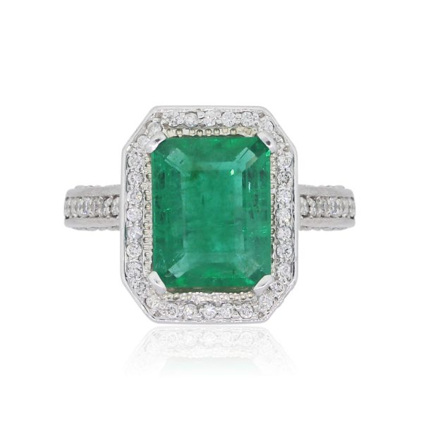 14k White Gold 4.16ct Emerald and 1.90ctw Diamond Pave Engagement Ring