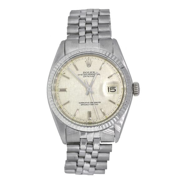 Rolex 1501 Datejust Stainless Steel Silver Textured Dial Watch