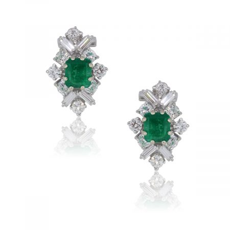 18k White Gold 1.70ctw Emerald and 1.05ctw Diamond Earrings