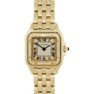 Cartier Panthere 18k Yellow Gold Diamond Bezel Ladies Watch