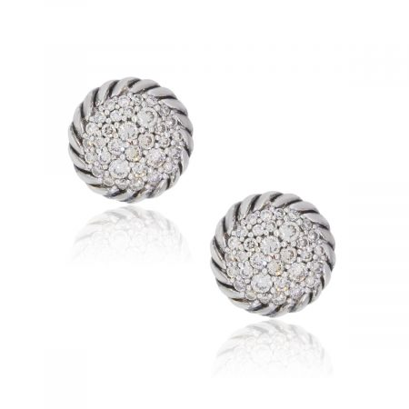 David Yurman Sterling Silver Diamond Pave Chatelaine Earrings