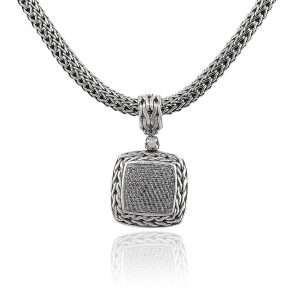 John Hardy 18k & Sterling Silver Diamond Pendant on Large Woven Chain