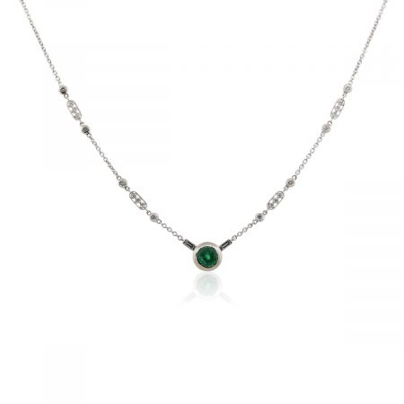 18k White Gold 1.75ct Emerald and 0.35ctw Diamond Byzantine Pendant Necklace