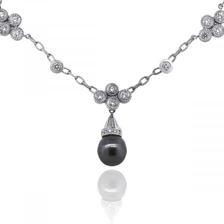 18k White Gold 0.60ctw Diamond Oval Link Necklace With Tahitian Pearl