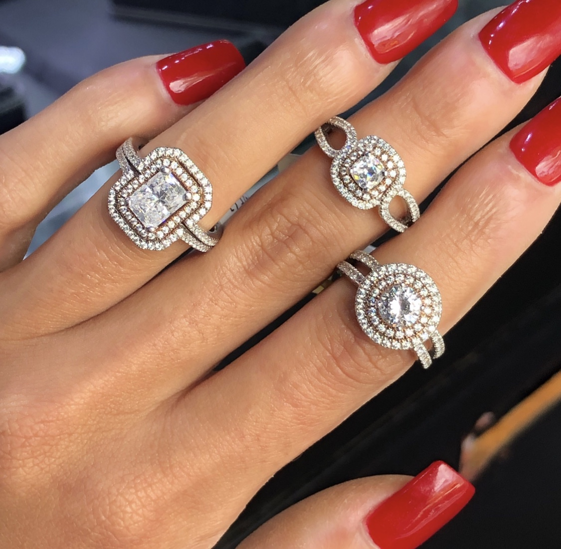 three double halo engagement rings A. Jaffe
