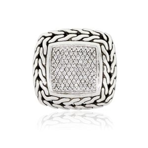 John Hardy Sterling Silver 0.85ctw Diamond Square Classic Chain Ring