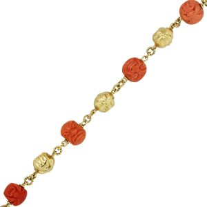 18k Yellow Gold Carved Coral Ball Bracelet