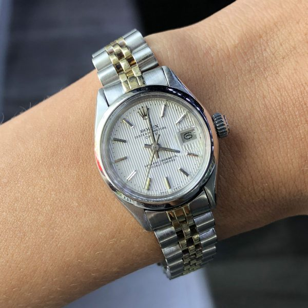 Rolex 6916 Date Two Tone Silver Dial Watch