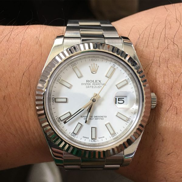 Rolex 116334 Datejust Stainless Steel White Dial Watch
