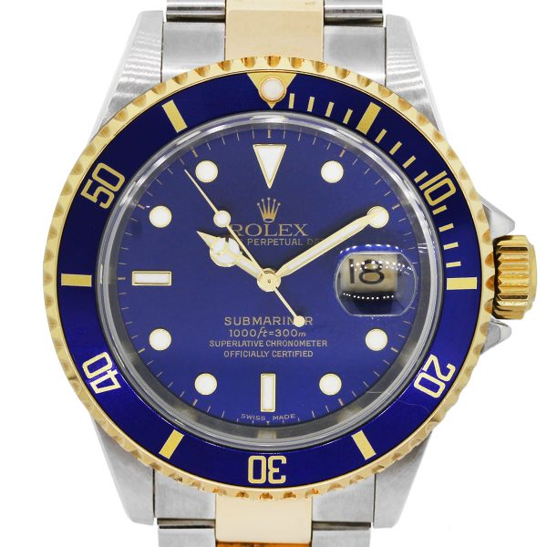Rolex 16613 Submariner Two Tone Blue Dial Watch