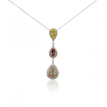 18k White and Rose Gold 3.82ctw Diamond Drop Pendant Necklace