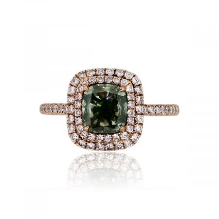 18k Rose Gold GIA Certified 1.81ct Fancy Gray-Yellowish Green Diamond Ring