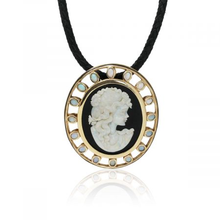 14k Yellow Gold Onyx and Bezel Set Opal Large Cameo Pendant on Leather Cord Necklace