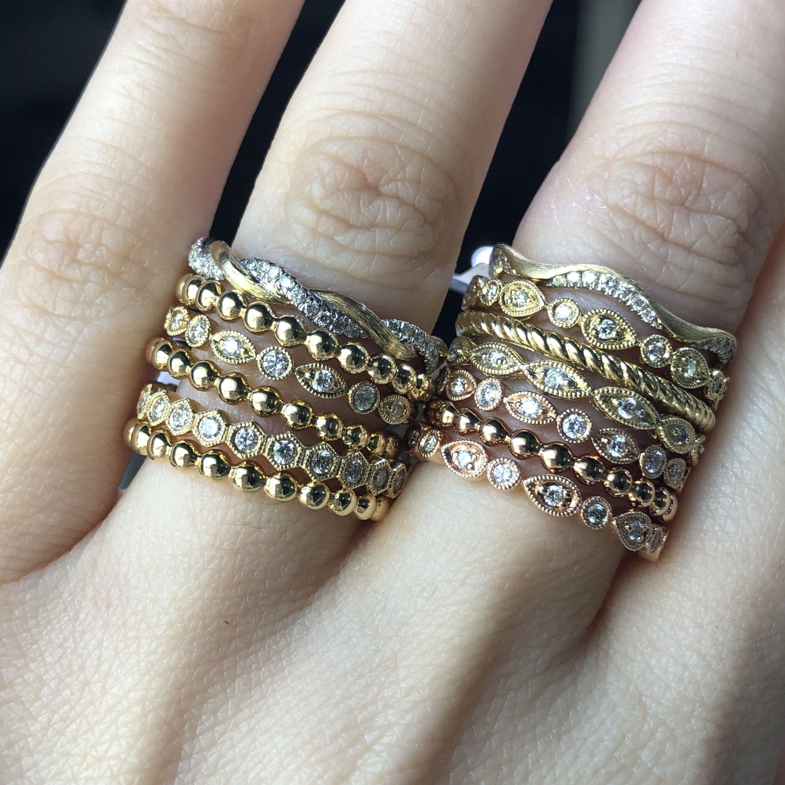 yellow gold rose gold and diamond ring stacks