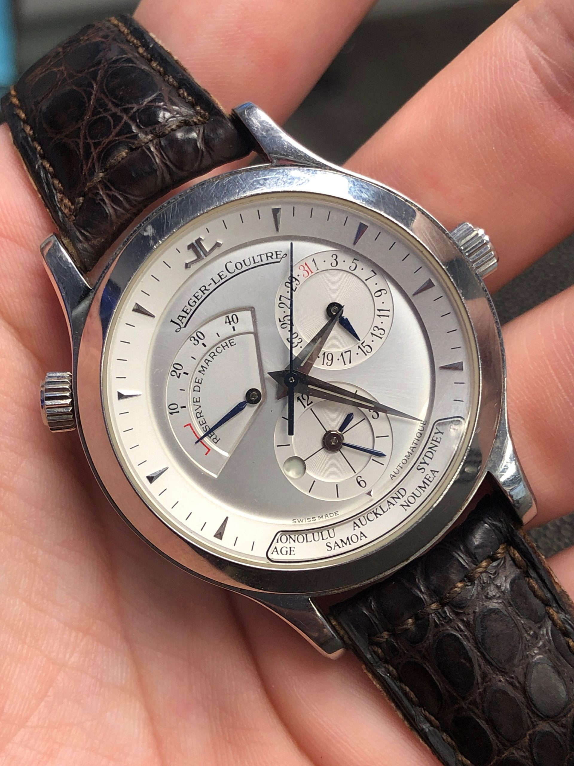 jaeger le coultre master geographic stainless steel watch